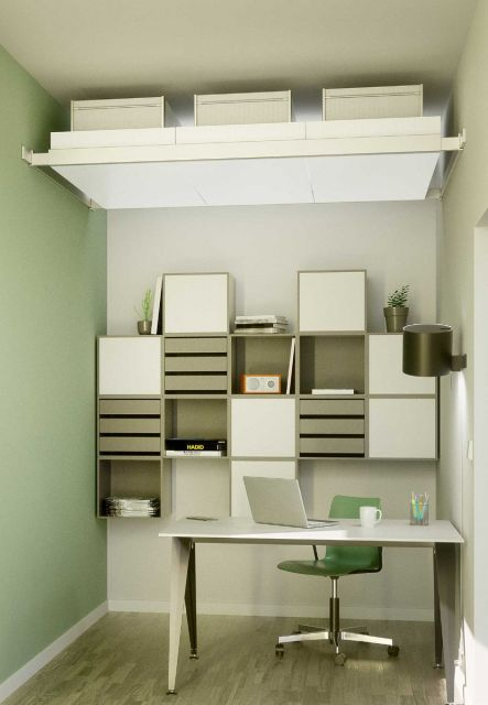 Ceiling storage organiser boxes side by side