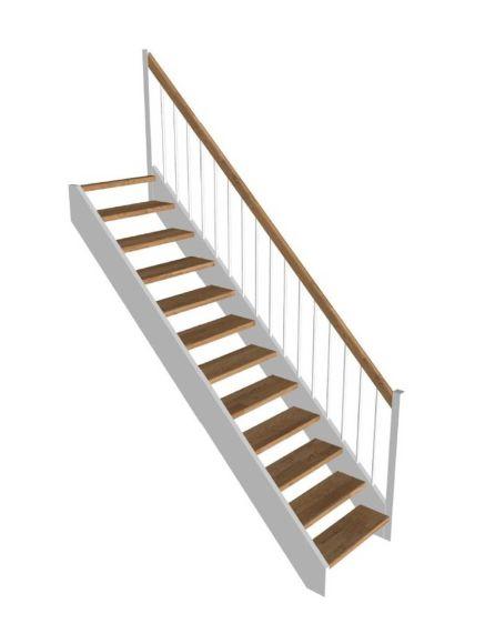 Trætrappe med ligeløbs i egetrin/hvid STOCKHOLM
